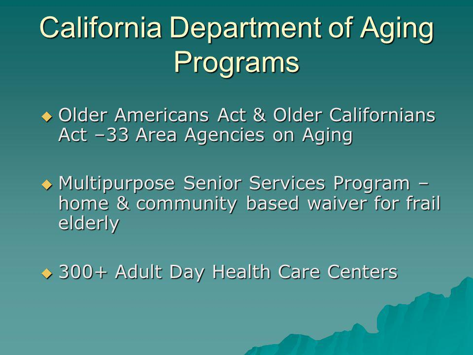 California Department of Aging Programs Older Americans Act & Older Californians Act –33 Area Agencies on Aging Older Americans Act & Older California