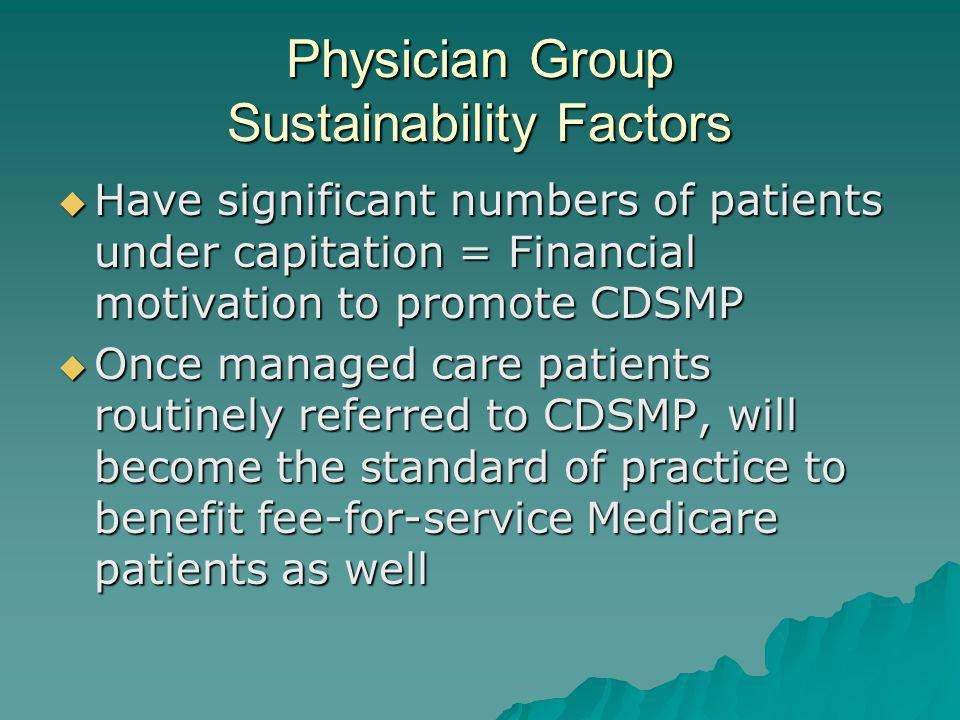 Physician Group Sustainability Factors Have significant numbers of patients under capitation = Financial motivation to promote CDSMP Have significant