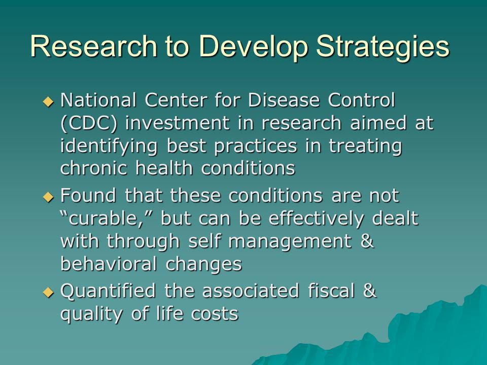 Research to Develop Strategies National Center for Disease Control (CDC) investment in research aimed at identifying best practices in treating chroni
