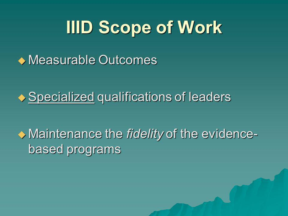 IIID Scope of Work Measurable Outcomes Measurable Outcomes Specialized qualifications of leaders Specialized qualifications of leaders Maintenance the