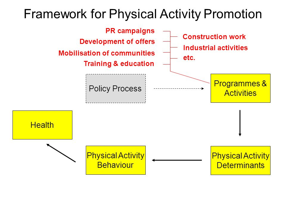 Framework for Physical Activity Promotion Policy Process Physical Activity Behaviour Physical Activity Determinants Programmes & Activities Health Development of offers Mobilisation of communities Training & education PR campaigns Construction work Industrial activities etc.