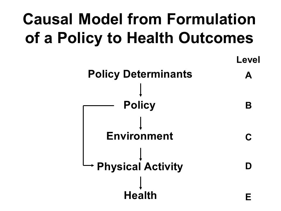 Causal Model from Formulation of a Policy to Health Outcomes Policy Determinants Policy Environment Physical Activity Health A C D E B Level