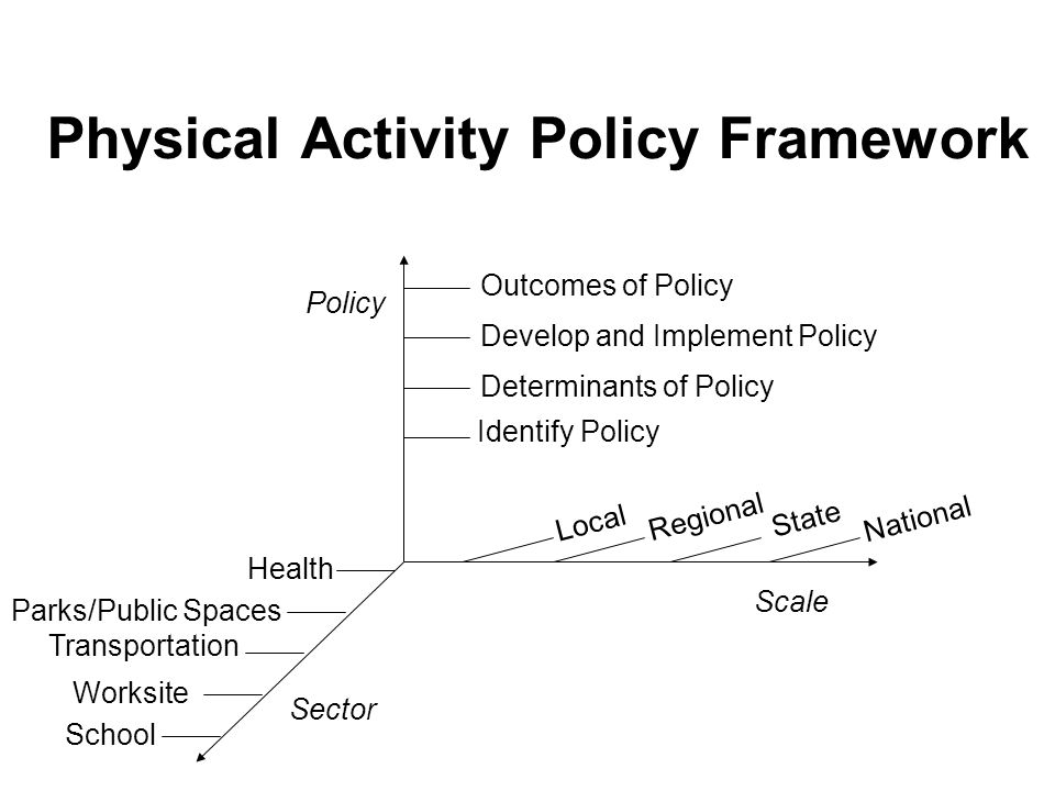 Physical Activity Policy Framework Outcomes of Policy Develop and Implement Policy Determinants of Policy Identify Policy Local Regional State National School Worksite Transportation Parks/Public Spaces Health Scale Policy Sector