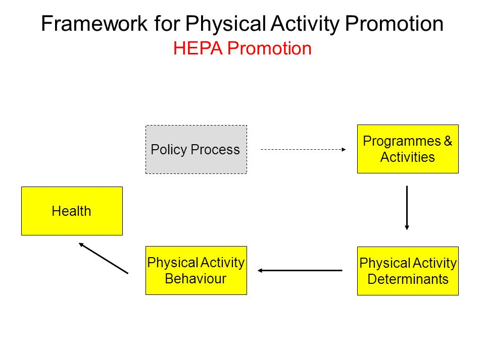 Policy Process Physical Activity Behaviour Physical Activity Determinants Programmes & Activities Health Framework for Physical Activity Promotion HEPA Promotion