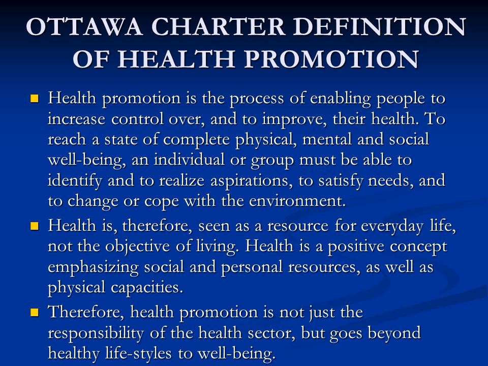 Definition of Health Promotion: American Journal of Health Promotion Health promotion is the science and art of helping people change their lifestyle to move toward a state of optimal health.