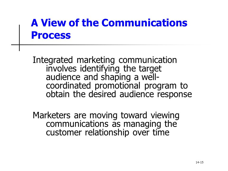 A View of the Communications Process Integrated marketing communication involves identifying the target audience and shaping a well- coordinated promo