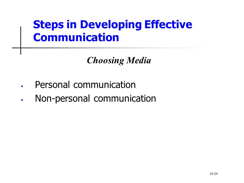 Steps in Developing Effective Communication Personal communication Non-personal communication 14-29 Choosing Media
