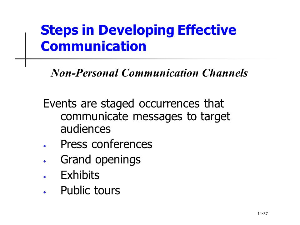 Steps in Developing Effective Communication Non-Personal Communication Channels Events are staged occurrences that communicate messages to target audi