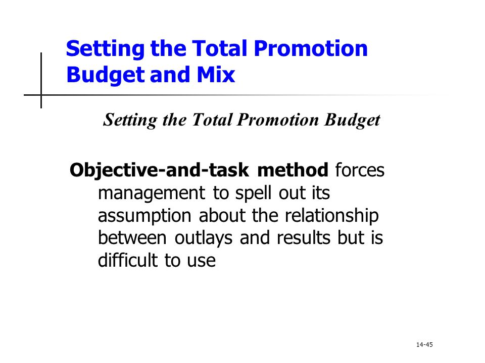 Setting the Total Promotion Budget and Mix Setting the Total Promotion Budget Objective-and-task method forces management to spell out its assumption