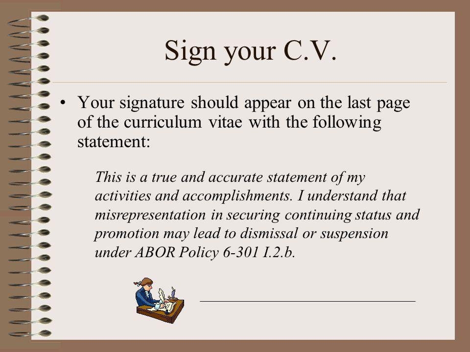 Sign your C.V.