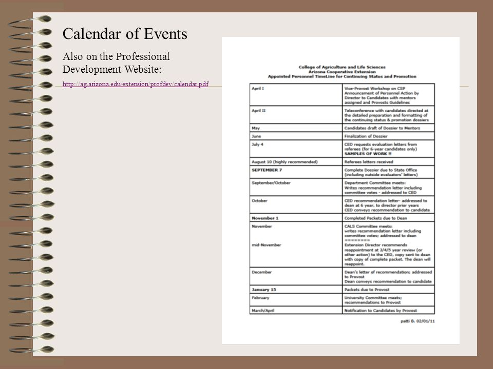 Calendar of Events Also on the Professional Development Website: http://ag.arizona.edu/extension/profdev/calendar.pdf