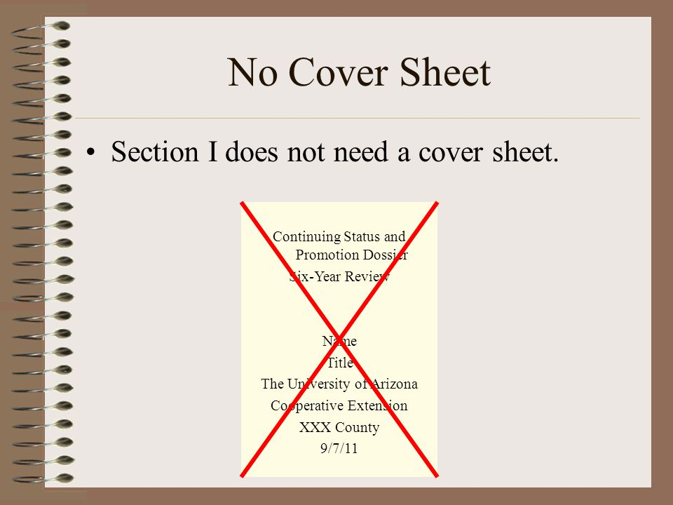 No Cover Sheet Section I does not need a cover sheet.