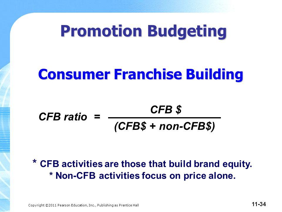Copyright ©2011 Pearson Education, Inc., Publishing as Prentice Hall 11-34 Consumer Franchise Building CFB ratio = (CFB$ + non-CFB$) CFB $ * CFB activ