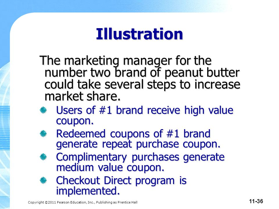 Copyright ©2011 Pearson Education, Inc., Publishing as Prentice Hall 11-36 Illustration The marketing manager for the number two brand of peanut butte