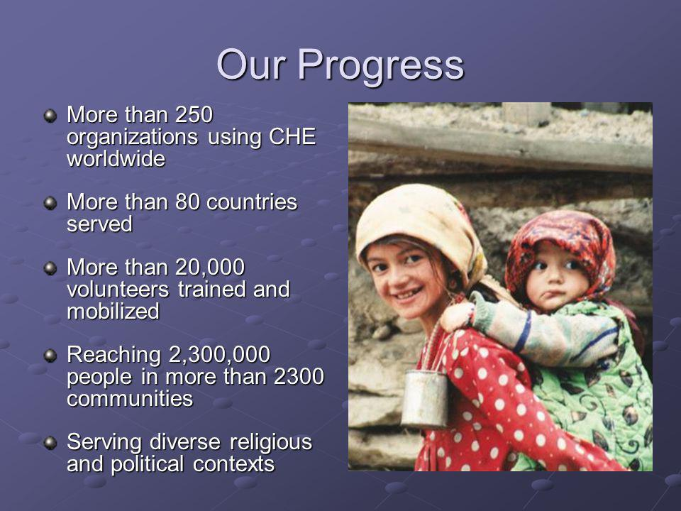 Our Progress More than 250 organizations using CHE worldwide More than 80 countries served More than 20,000 volunteers trained and mobilized Reaching 2,300,000 people in more than 2300 communities Serving diverse religious and political contexts
