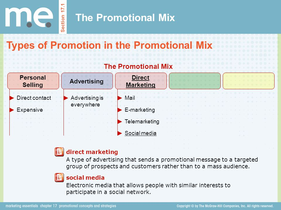 The Promotional Mix Types of Promotion in the Promotional Mix Section 17.1 direct marketing A type of advertising that sends a promotional message to