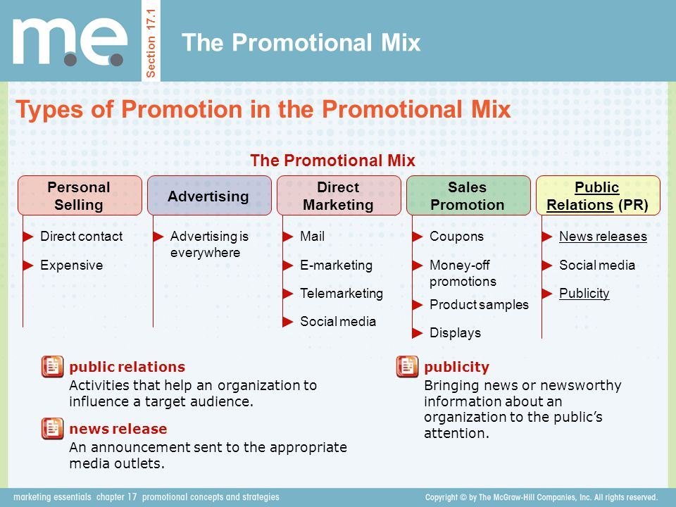 The Promotional Mix Types of Promotion in the Promotional Mix Section 17.1 public relations Activities that help an organization to influence a target