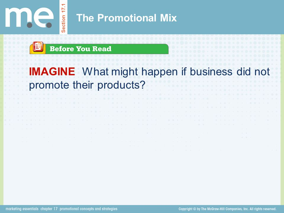 IMAGINE What might happen if business did not promote their products.