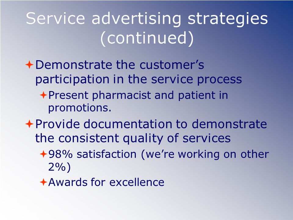 Service advertising strategies (continued) Demonstrate the customers participation in the service process Present pharmacist and patient in promotions