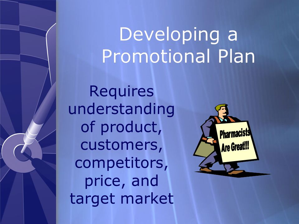 Developing a Promotional Plan Requires understanding of product, customers, competitors, price, and target market
