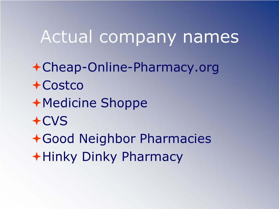 Actual company names Cheap-Online-Pharmacy.org Costco Medicine Shoppe CVS Good Neighbor Pharmacies Hinky Dinky Pharmacy