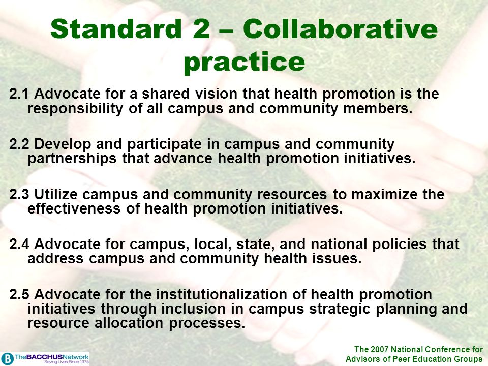 The 2007 National Conference for Advisors of Peer Education Groups Standard 2 – Collaborative practice 2.1 Advocate for a shared vision that health pr