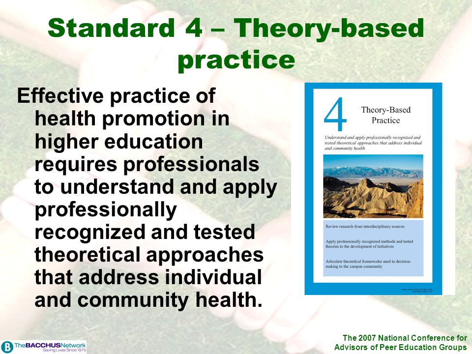 The 2007 National Conference for Advisors of Peer Education Groups Standard 4 – Theory-based practice Effective practice of health promotion in higher