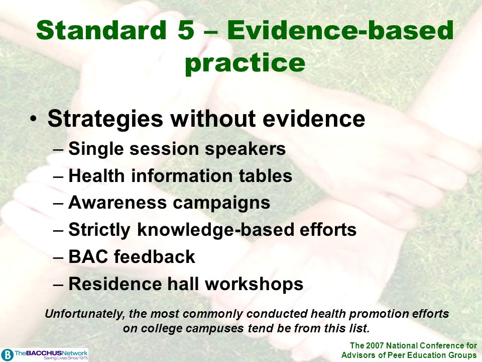 The 2007 National Conference for Advisors of Peer Education Groups Strategies without evidence –Single session speakers –Health information tables –Awareness campaigns –Strictly knowledge-based efforts –BAC feedback –Residence hall workshops Standard 5 – Evidence-based practice Unfortunately, the most commonly conducted health promotion efforts on college campuses tend be from this list.