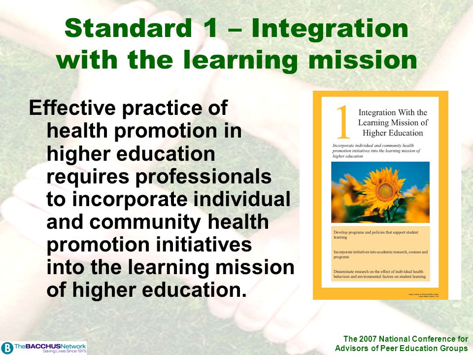 The 2007 National Conference for Advisors of Peer Education Groups Standard 1 – Integration with the learning mission Effective practice of health pro