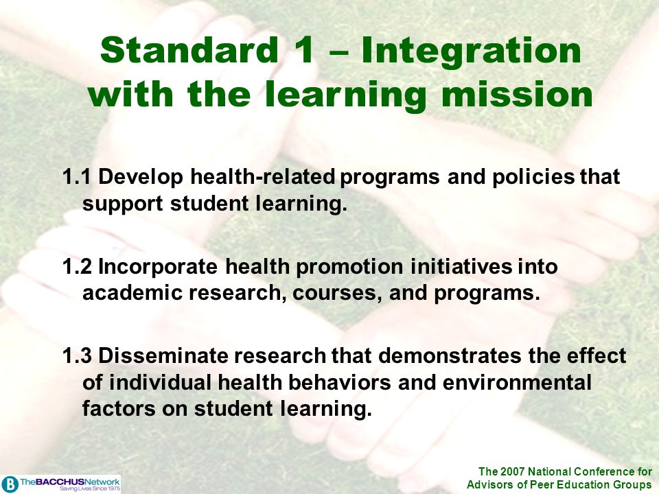 The 2007 National Conference for Advisors of Peer Education Groups 1.1 Develop health-related programs and policies that support student learning. 1.2