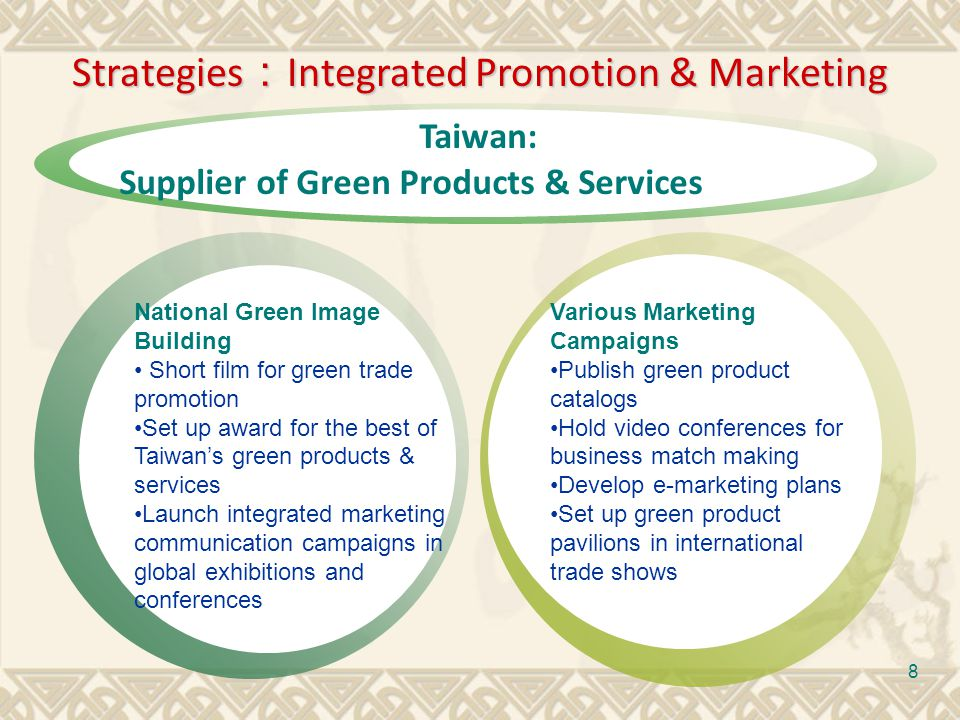 9 Visions of Green Trade Promotion Capacity Building Promotion & Marketing To build up industrys capacity of green technology To establish green supply chains To assist green product certification in accordance with international standards To build up green trade expertise To build up a new green image To promote Taiwans green products To participate in global green exhibitions and conferences To hold international conferences and summits
