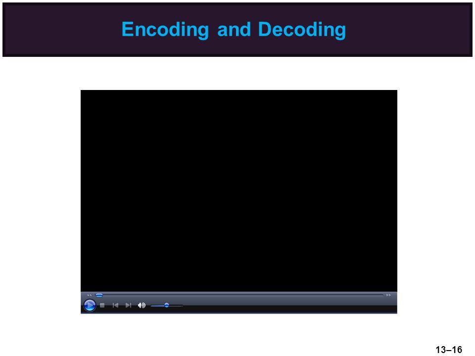 Encoding and Decoding 13–16