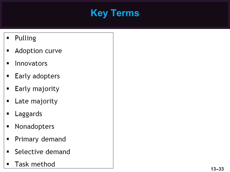 Key Terms Pulling Adoption curve Innovators Early adopters Early majority Late majority Laggards Nonadopters Primary demand Selective demand Task meth