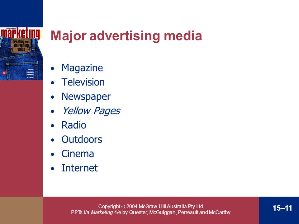 Copyright 2004 McGraw-Hill Australia Pty Ltd PPTs t/a Marketing 4/e by Quester, McGuiggan, Perreault and McCarthy 15–11 Major advertising media Magazi