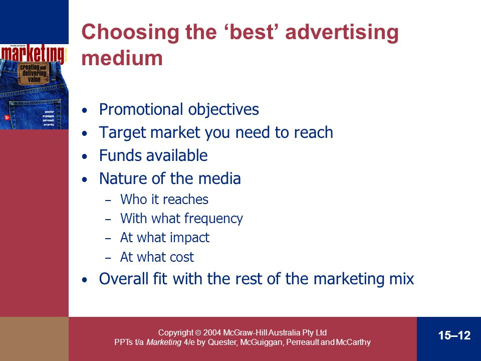 Copyright 2004 McGraw-Hill Australia Pty Ltd PPTs t/a Marketing 4/e by Quester, McGuiggan, Perreault and McCarthy 15–12 Choosing the best advertising