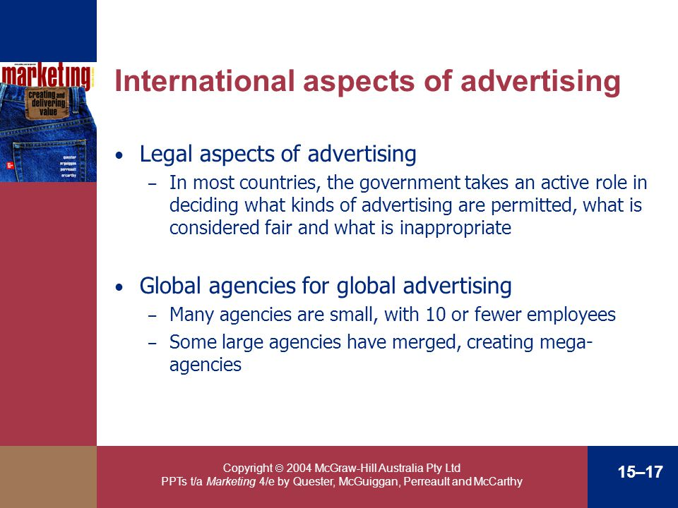 Copyright 2004 McGraw-Hill Australia Pty Ltd PPTs t/a Marketing 4/e by Quester, McGuiggan, Perreault and McCarthy 15–17 International aspects of adver