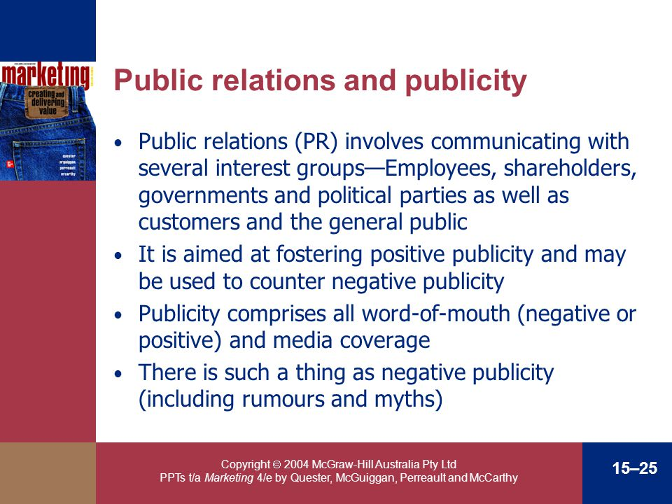 Copyright 2004 McGraw-Hill Australia Pty Ltd PPTs t/a Marketing 4/e by Quester, McGuiggan, Perreault and McCarthy 15–25 Public relations and publicity