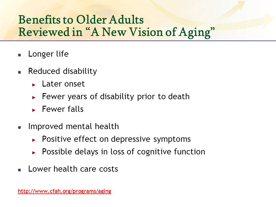 The Challenge & the Opportunity Older adults suffer from chronic diseases, injuries and disabling conditions.