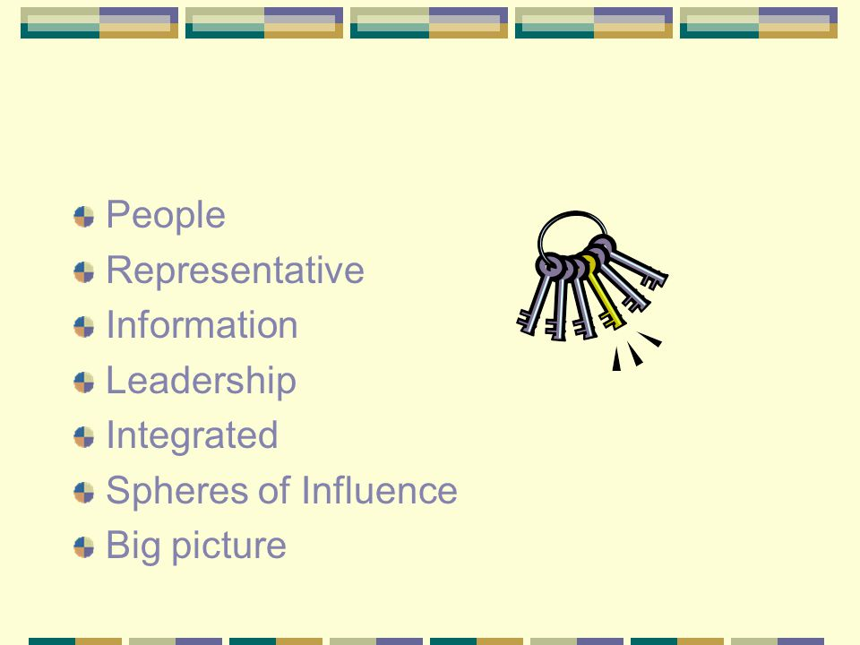 Representative Information Leadership Integrated Spheres of Influence Big picture