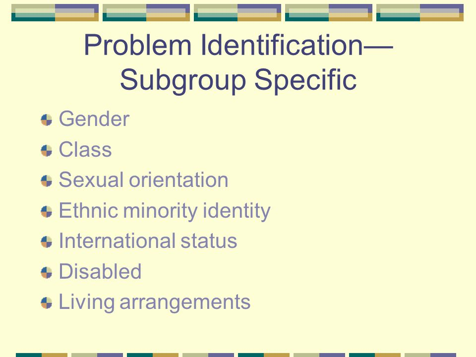 Problem Identification Subgroup Specific Gender Class Sexual orientation Ethnic minority identity International status Disabled Living arrangements