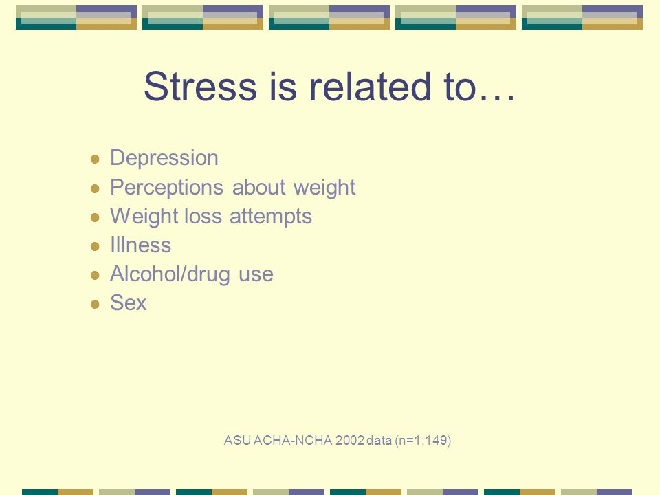 Stress is related to… Depression Perceptions about weight Weight loss attempts Illness Alcohol/drug use Sex ASU ACHA-NCHA 2002 data (n=1,149)