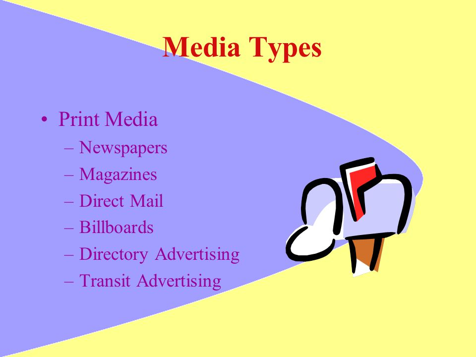 Media Types Print Media –Newspapers –Magazines –Direct Mail –Billboards –Directory Advertising –Transit Advertising