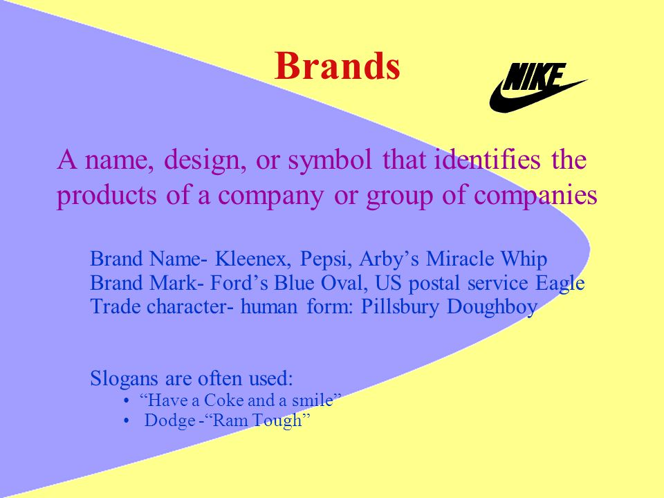 Brands A name, design, or symbol that identifies the products of a company or group of companies Brand Name- Kleenex, Pepsi, Arbys Miracle Whip Brand