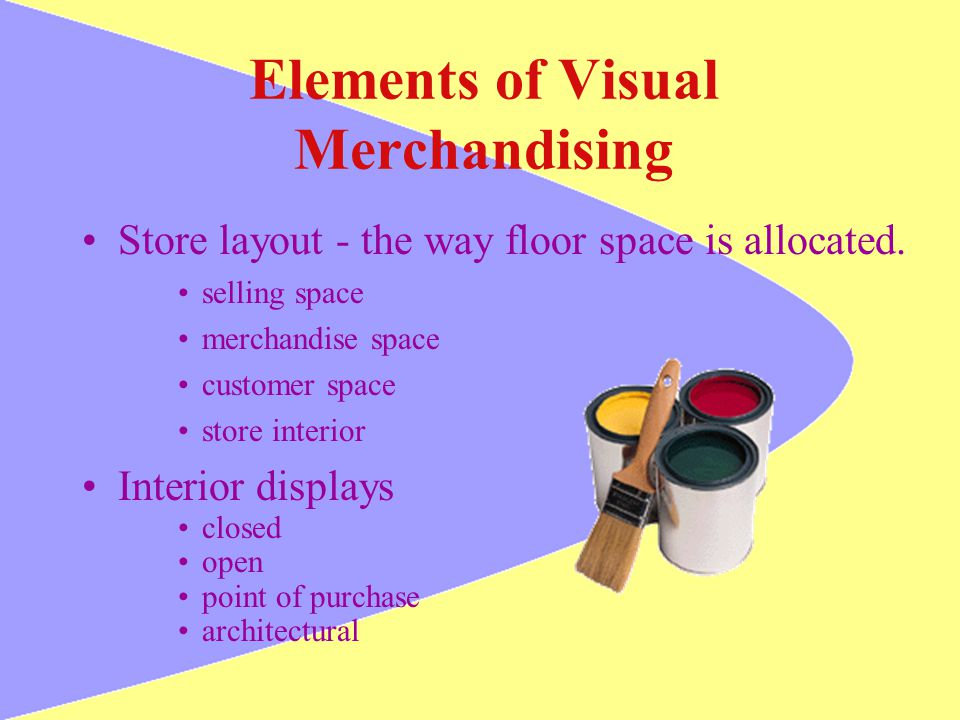 Elements of Visual Merchandising Store layout - the way floor space is allocated. selling space merchandise space customer space store interior Interi