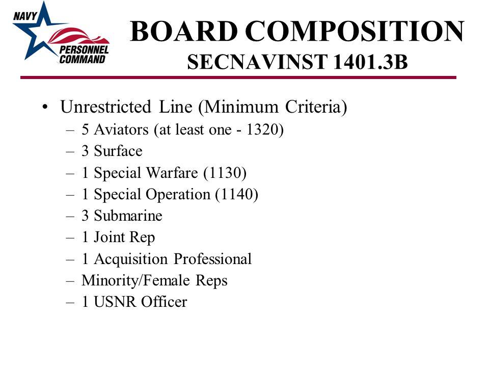 BOARD COMPOSITION SECNAVINST 1401.3B Unrestricted Line (Minimum Criteria) –5 Aviators (at least one - 1320) –3 Surface –1 Special Warfare (1130) –1 Sp