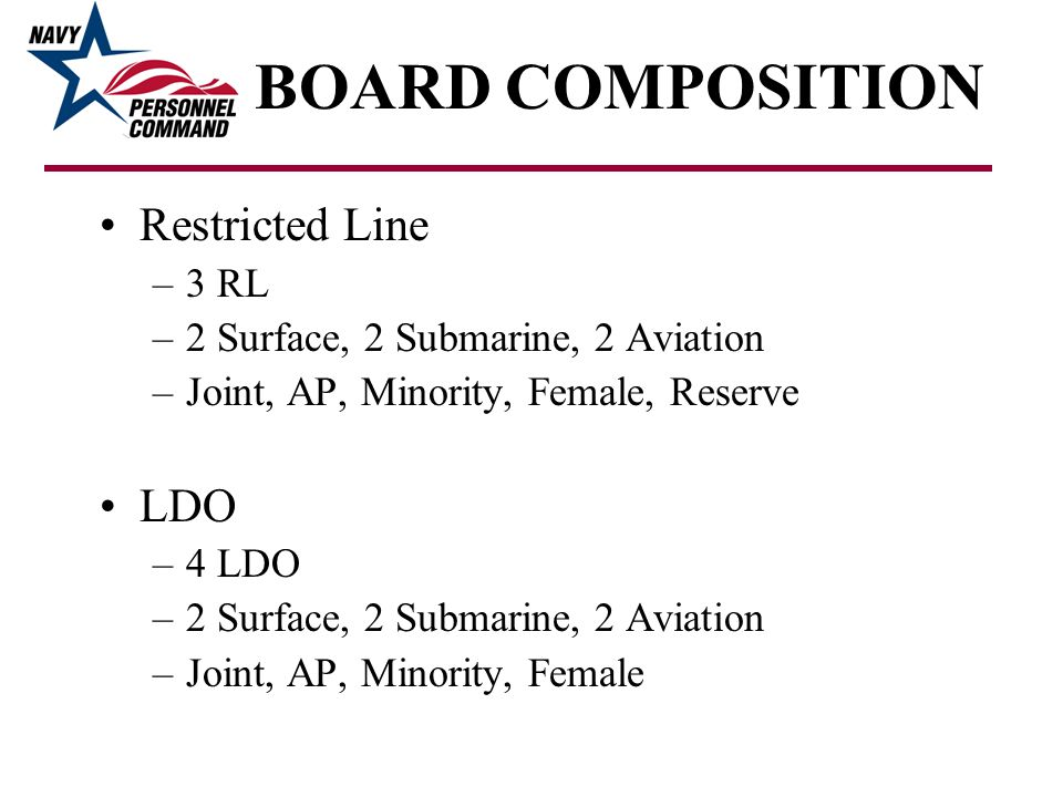 BOARD COMPOSITION Restricted Line –3 RL –2 Surface, 2 Submarine, 2 Aviation –Joint, AP, Minority, Female, Reserve LDO –4 LDO –2 Surface, 2 Submarine,