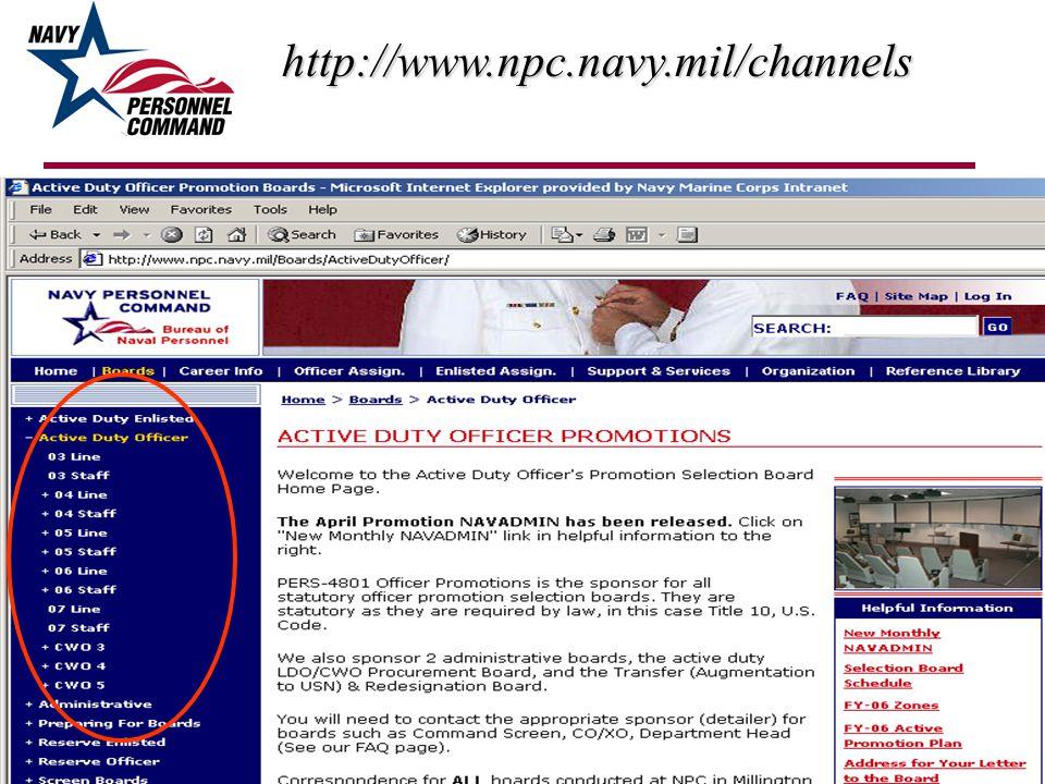 http://www.npc.navy.mil/channels