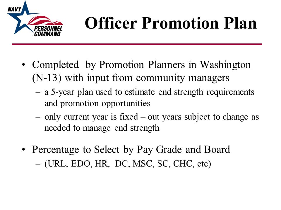 Promotion Plan: The Process (Washington) Promotions are function of strength by grade based on: Legal Limit: DOPMA Grade Table - Limits the number of CAPT/CDR/LCDRs based on total officer strength No DOPMA limits on Medical and Dental Corps Vacancies: Promotions, Retirements, Separations Requirement