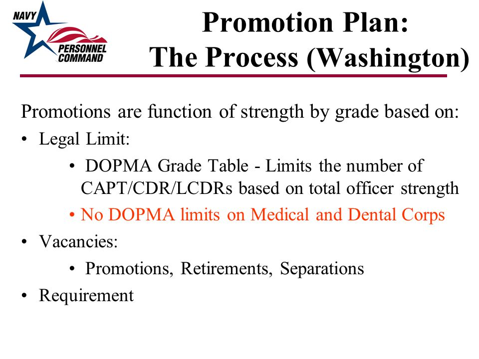 Promotion Plan: The Process (Washington) Promotions are function of strength by grade based on: Legal Limit: DOPMA Grade Table - Limits the number of