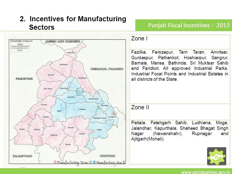 2. Incentives for Manufacturing Sectors www.pbindustries.gov.in Punjab Fiscal Incentives - 2013 Zone I Fazilka, Ferozepur, Tarn Taran, Amritsar, Gurda